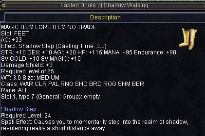 Fabled Boots of Shadow Walking