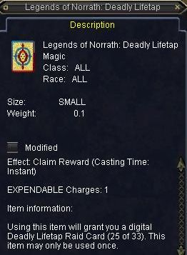 Legends of Norrath:Deadly Lifetap