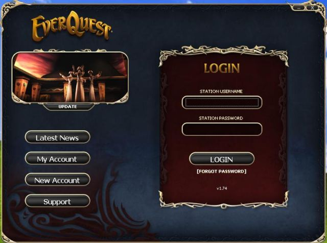 EverQuest Login Screen