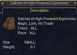 Satchel of High Powered Explosives